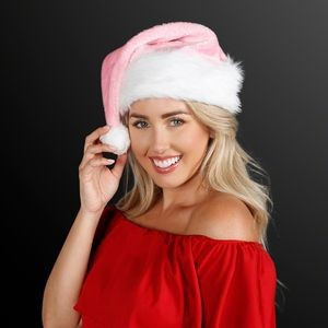 Fuzzy Soft Pink Santa Hats (NON-Light Up)